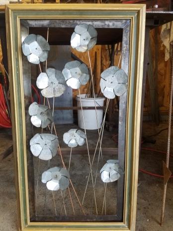 "#76 framed poppies 34""x 19"" $75"