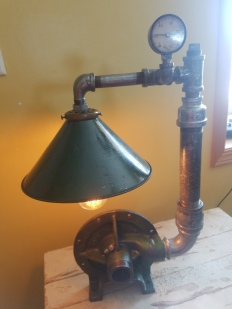 #107 steampunk style light $150